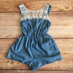 Other - Girls chambray and lace Romper